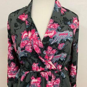 Aqua pink and gray floral  print
